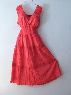 New Long Coral Mango Crochet Lace Maxi Boho Peasant Cotton Dress 20 18 XL 1x 2X