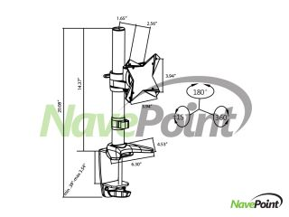 """LCD Monitor Desk Mount Stand Adjustable C Clamp 1 Screen Up to 24"""""""