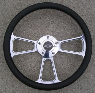 Billet Steering Wheel with A Chevy Logo Billet Horn Button Black Half Wrap