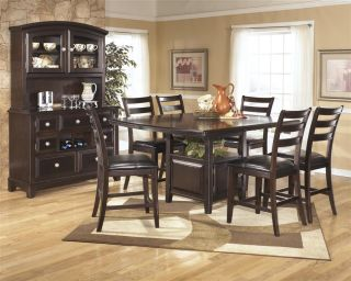 Ashley Ridgley Dark Brown Wood Square Counter Height Dining Room Table Chairs