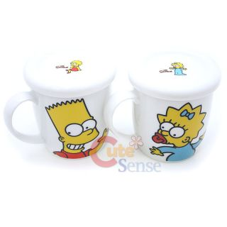 The Simpson Family Mug Coffee Cup with Top Lid Ceramic 4pc