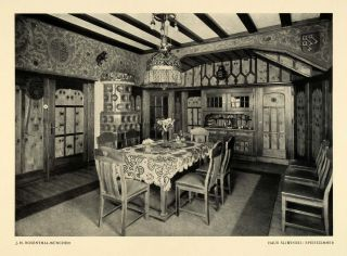 1915 Print German Sliwinski Home Dining Room Interior Decor Furnishing Table