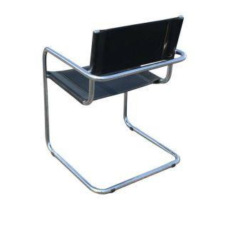 2 Mid Century Modern Mart Stam Leather Arm Chairs