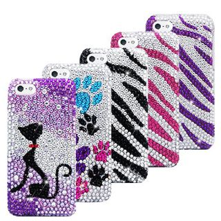 Apple iPhone 5c Diamond Bling Rhinestone Case Cover Zebra Animal Screen Guard