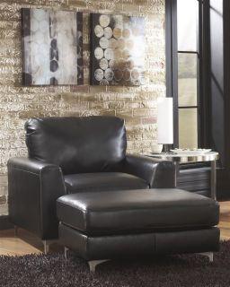 Ashley Konoa Black Metro Modern Faux Leather Sofa Loveseat Living Room Chair Set