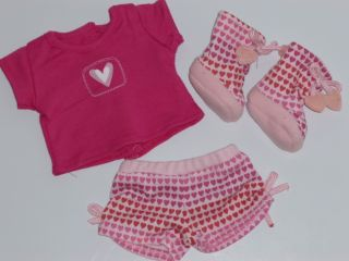 "Fits 18"" Cute Doll Clothes Pink Heart Pajama Set Shorts T Shirt and Slippers 3pc"