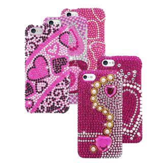 Apple iPhone 5c Full Diamond Bling Rhinestone Case Cover Hearts Screen Protector