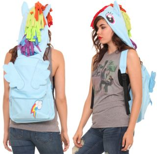 My Little Pony Rainbow Dash Hooded Backpack Bag New Hood