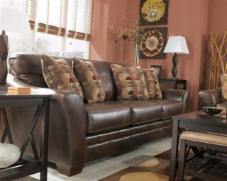 Ashley Del Rio Faux Leather Sedona Brown Contemporary Rustic Sofa Loveseat Chair