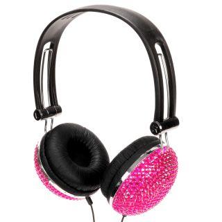Hot Pink Crystal Rhinestone Bling DJ Over Ear Headphones Headset Earphones