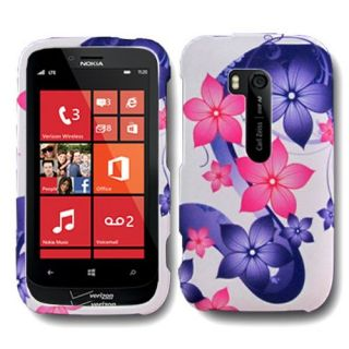 Pink Purple Flower Case for Nokia Lumia 822 Atlas Cell Phone Hard Skin Cover