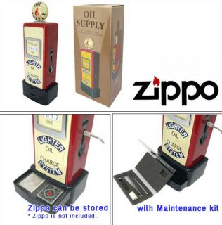 RARE Japan Zippo Oil Supply Stand w Maintenance Kit 1940 1950 Retro Vtg Style