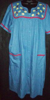 Go Softly 100 Cotton Denim Snap Front House Dress Muu Duster Daisy Bug XL