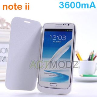 White 3600mA Battery Case Power Pack Bank Extended for Samsung Galaxy Note II 2