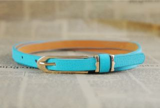 Women Lady Fashion Candy Colors Women's Faux Leather Thin Skinny Waistband Belt