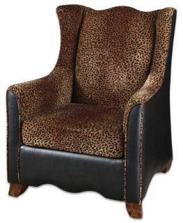 Animal Leopard Print Black Faux Leather Large Armchair