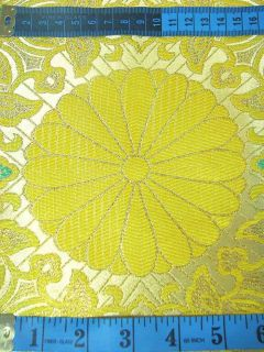 Chinese Brocade Fabric Material Yellow on Gold Upholstery by Yard