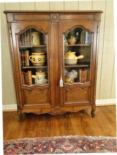 Antique French Bookcase Bookshelf China Cabinet DK Oak Carving Wood Shelves