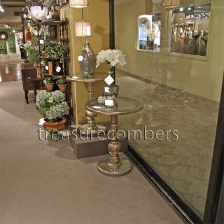 Silver Round Mirrored Side Accent End Table Glam Chic