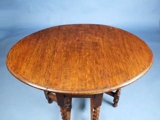 Barley Twist Antique English Oak Drop Leaf Gate Leg Occasional Side Table