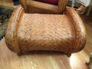 ... Gently Used Pottery Barn Malabar Chair Rattan And Ottoman ...
