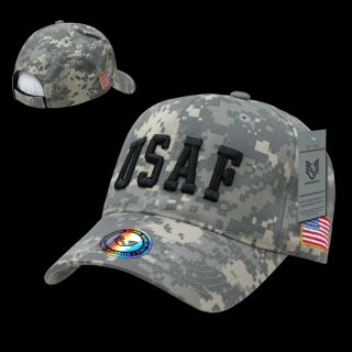 Hat Ball Caps American Military USAF Digital Woodland Camo w Flag Baseball Cap