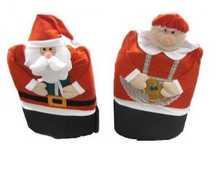 Christmas Mr and Mrs Santa Claus Holiday Seat Chair Covers 2 PC Set
