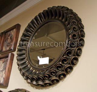 Round Rosette Bronze Wall Mirror Rose Antique Metal