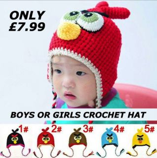 Baby Boy or Girl Funky Crochet Hat Photo Prop Winter Warm Cartoon Anime Beanie