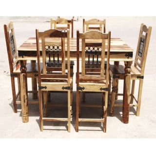 Rectangle Counter Height Pub Wood Dining Room Table 6 Person Chairs Set w Iron