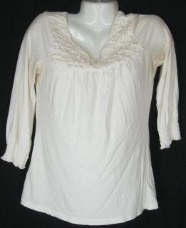 Deletta Anthropologie Cream 3 4 Sleeve Shirt Top Size M