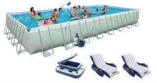 "Intex 32' x 16' x 52"" Ultra Frame Rectangular Swimming Pool Deluxe Set 54987EG"
