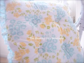 Set 4 Ruffle Shabby Cottage Roses Chic Kitchen Cushions Aqua Yellow Chair Pads