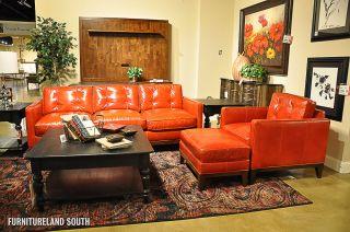 ... Bradington Young Orange Leather Sofa Chair Ottoman Set ...