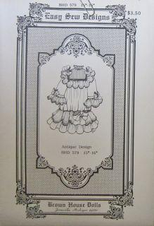 "Brown House Dolls Easy Sew Designs BHD 579 15 16"" Antique Dress Pattern w Bows"