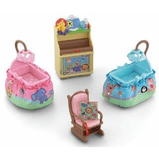 Fisher Price Loving Family Dollhouse Nursery Stylish Two Bassinets Rocking Chair