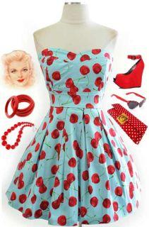 50s Style Aqua Baby Blue Cherry Print Sweetheart Bust Strapless Pinup Sun Dress