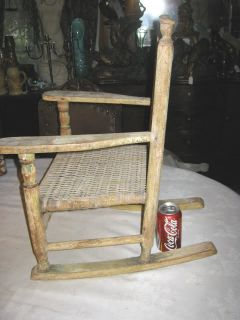 Antique Primitive Farm Wood Childs Boy Girl Baby Acorn Rocking Chair Country Art