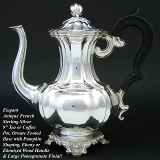 Fine Antique French Sterling Silver Tea Pot Pumpkin Shape Diosne 1842 1859