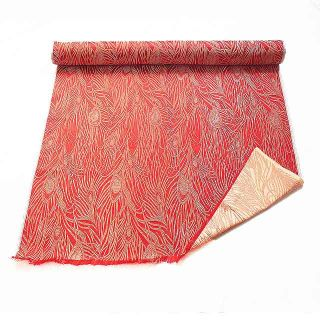 CBS 602 Chinese Brocade Fabric Red N Gold Peacock Feather