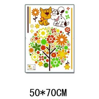 Colorful Tree Cartoon Cat Dog Wall Sticker Decal 3D 8248