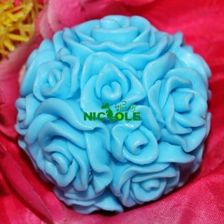 J11 Soft Silicone Handmade Soap Candle Mold Mould Rose Ball 2 Sizes