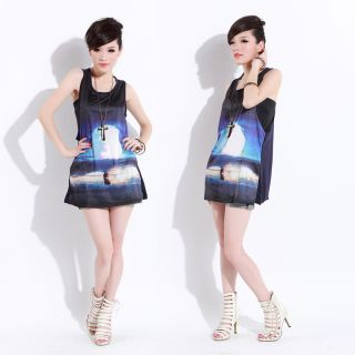 Women Galaxy Mushrooms Cloud Graphic Print Sleeveless Long Shirt Vest Tops Dress