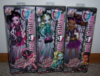 Monster High Draculaura Lagoona Blue Clawdeen Wolf Black Carpet Doll