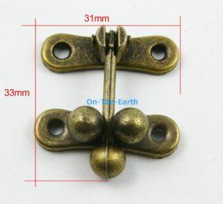 10 Antique Brass Decorative Hasp Jewelry Box Hasp Latch Lock 31x33mm with Screws