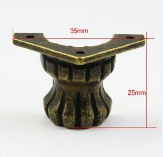 4 Antique Brass Decorative Feet Jewelry Box Feet Case Leg 35x25mm with Screws