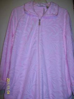Jasmine Rose Ladies Zip Front Long Fleece Robe Pink Bow M