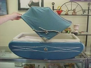 Vintage C 1960s Light Blue Metal Vinyl Gendron Baby Stroller Carriage