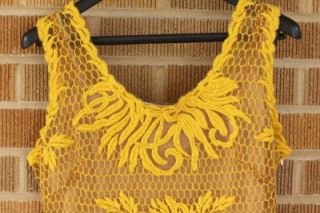 NWT Anthropologie Honeycomb Lace Dress Yoana Baraschi Gold 8 $288