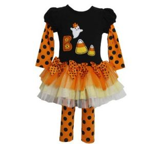 Bonnie Jean Girl Halloween Boo Ghost Polka Dots Orange Tutu Dress Leggings 2pc